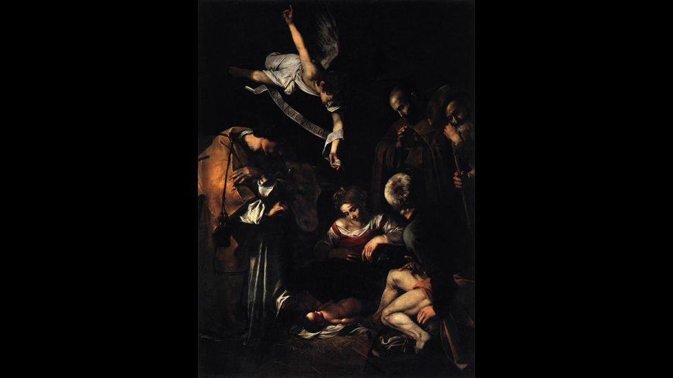 Caravaggio's Nativity with San Lorenzo and San Francesco (WikiMedia)