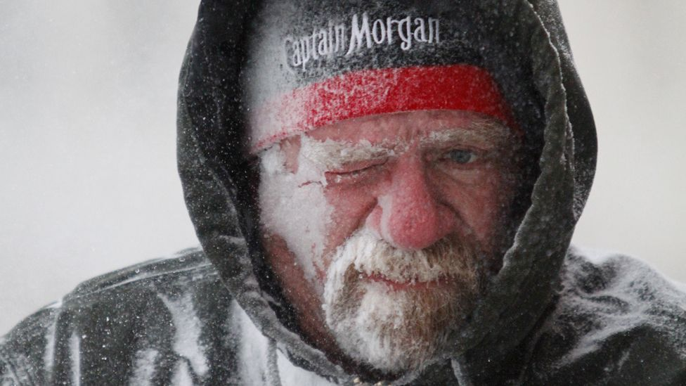 Man in freezing conditions in the US