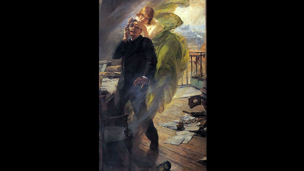 Luhrmann's take on the Green Fairy had its root in Albert Maignan's 1895 painting Green Muse, which also personified absinthe as a spritely young woman. (Wikimedia Commons)