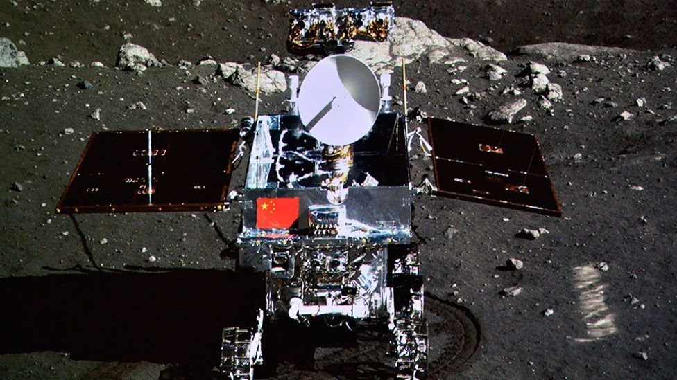 China's Moon rover, Yutu ( Jade Rabbit), took a picture of itself after being deployed successfully from the Chang'e 3 lunar lander. (Reuters)