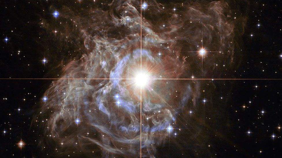 RS Puppis, a Cepheid variable star, captured by the Hubble Space Telescope. The star's brightness varies, and it sits surrounded in a massive dust cloud. (ESA/Nasa/Hubble)