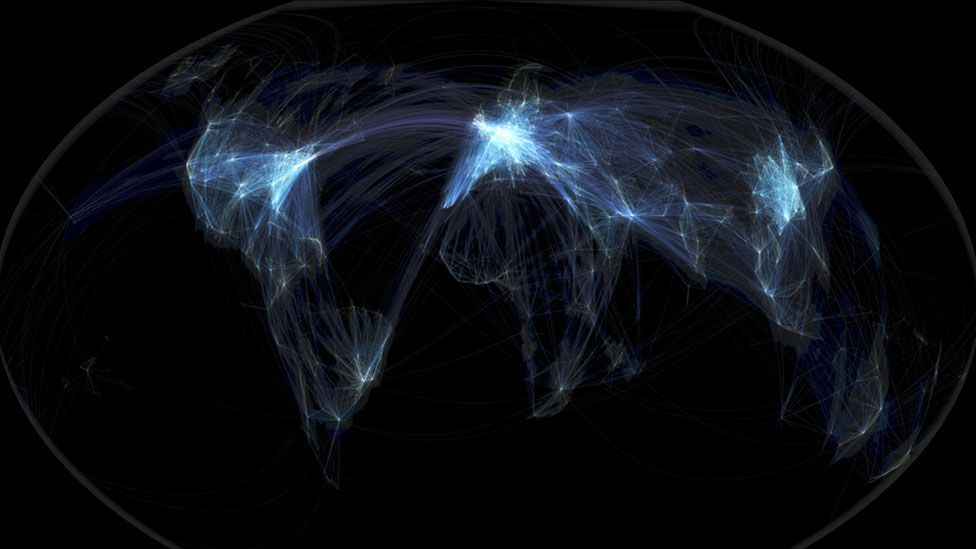 As this map of flight paths suggests, planes will routinely be heard over deserts, rainforests and icy wildernesses. (Michael Markieta/Arup)