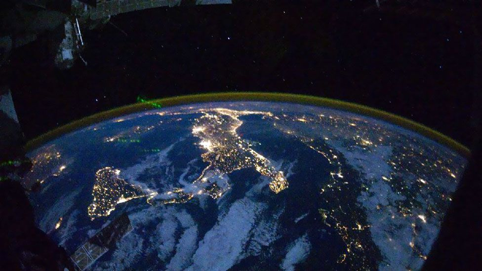 Satellite imagery of artificial light, like this picture of Italy, can reveal the human activity you might want to avoid. (Nasa)