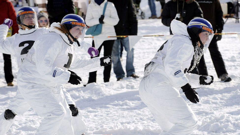 Team Vahasen Soturit fights during the Finnish Yukigassen Championship in Helsinki in 2010. (Heikki Saukkomaa/AFP/Getty)
