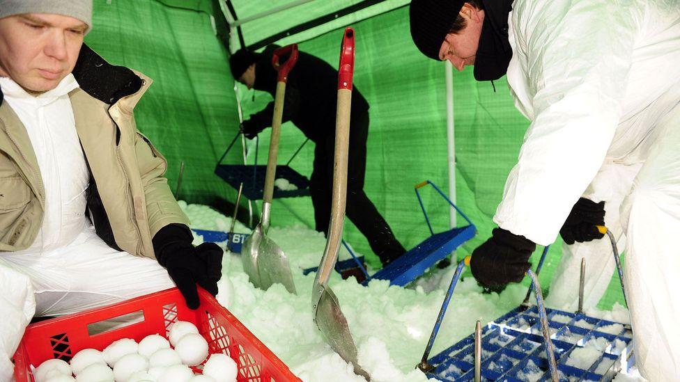 Snowballs are prepared for the Finnish Yukigassen Championship in Helsinki in 2010. (Heikki Saukkomaa/AFP/Getty)