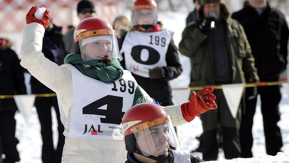 Team Skadam fights during the Finnish Yukigassen Championship in Helsinki in 2010. (Heikki Saukkomaa/AFP/Getty)