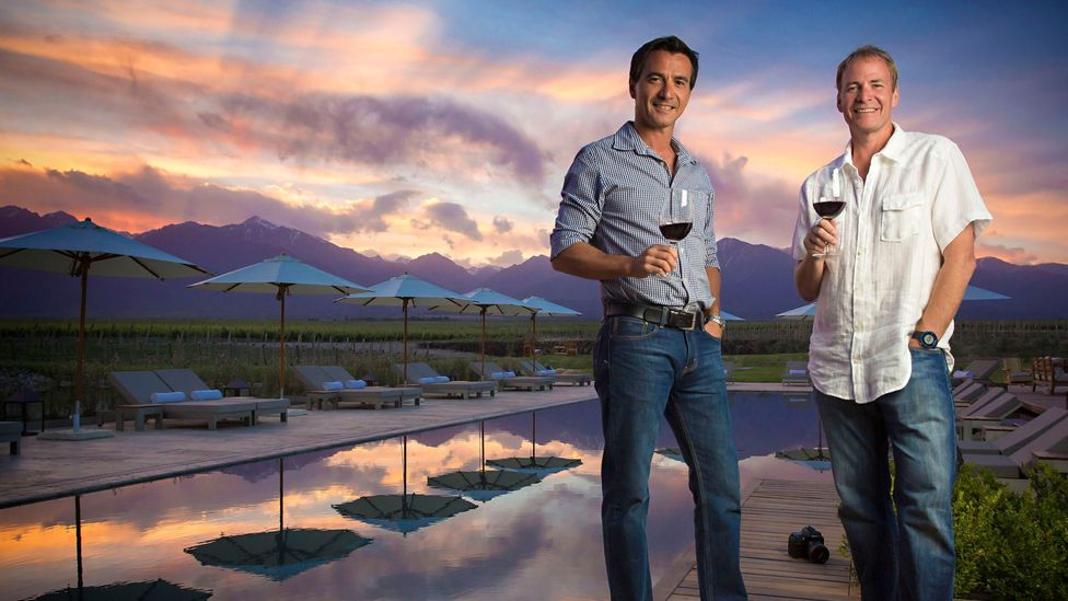 Vines of Mendoza owners Pablo Gimenez Rilli and Michael Evans enjoy a glass of wine from the vineyard. (Fede Garcia)
