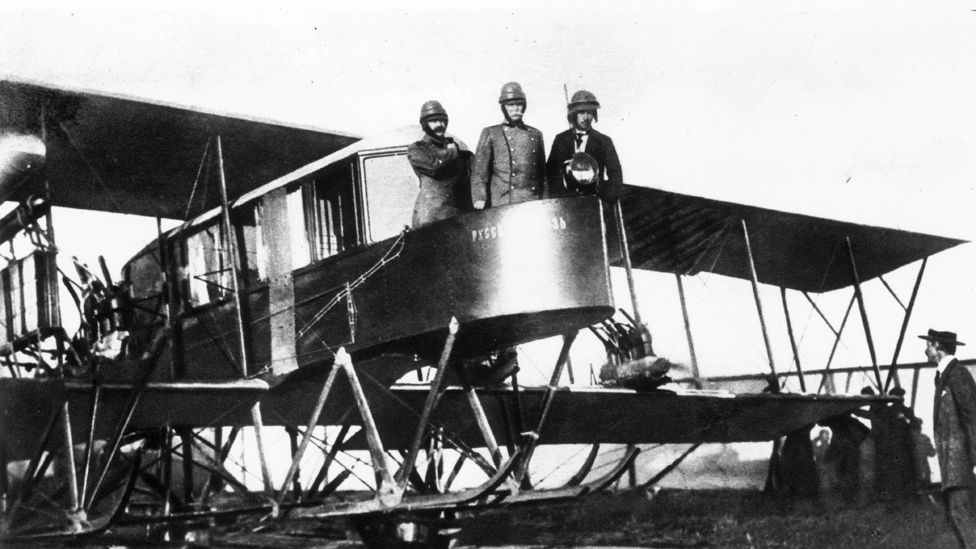 The Russian Sikorsky Ilya Muromets was the first multi-engined airliner, capable of carrying up to 16 passengers. Early versions had a luxury cabin – and a toilet. (Getty Images)