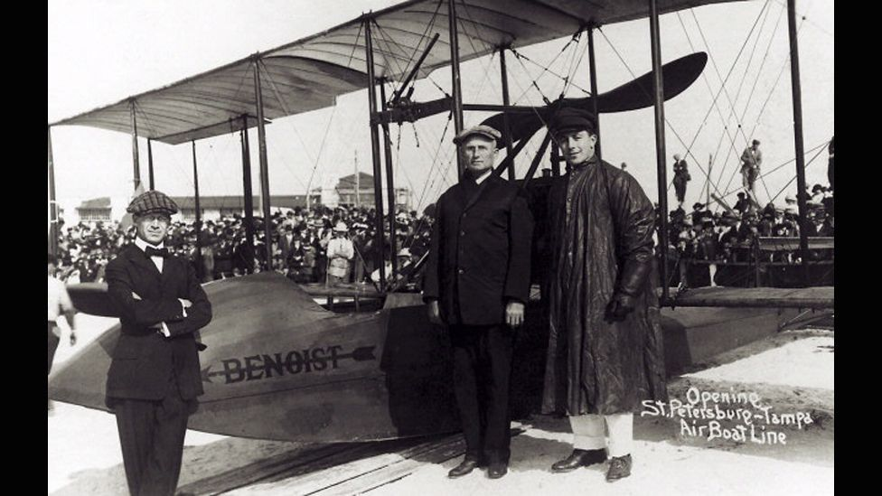 The world's first scheduled air service took flight in January 1914 – linking two Florida cities via a seaplane no faster than an average modern car. (Florida State Archive)