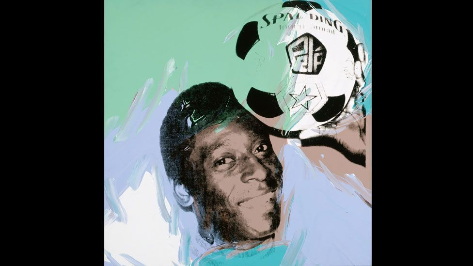 The art world has a long history of representing football. Andy Warhol painted this likeness of three-time World Cup champion Pelé in 1978. (Andy Warhol Foundation/ARS)