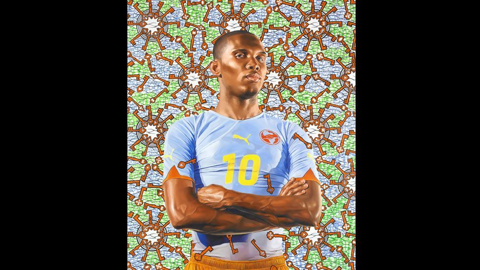 Cameroonian footballer Samuel Eto'o, who plays as a striker for Chelsea, was painted by artist Kehinde Wiley in 2010. (Kehinde Wiley/Roberts & Tilton)