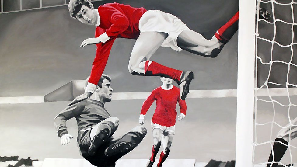 Painter Chris Beas highlights his love of Manchester United in The Kid's Alright by draining out all colour except for the United red. (Chris Beas)