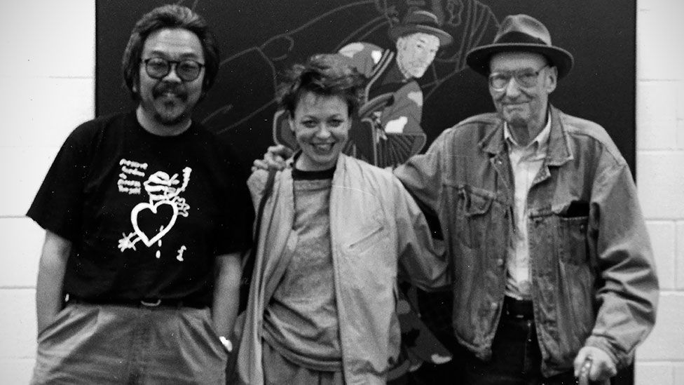 Burroughs, right, with Roger Shimomura and Laurie Anderson. (Roger Shimomura)