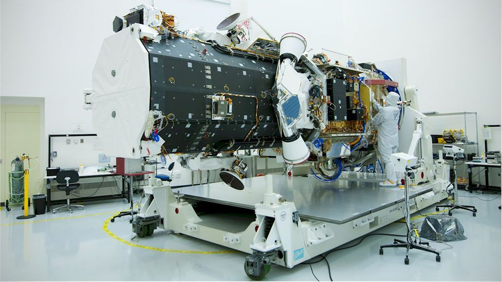 This clean room is where satellites such as Worldview-3 and Worldview-2 (pictured) are built (Ball Aerospace)