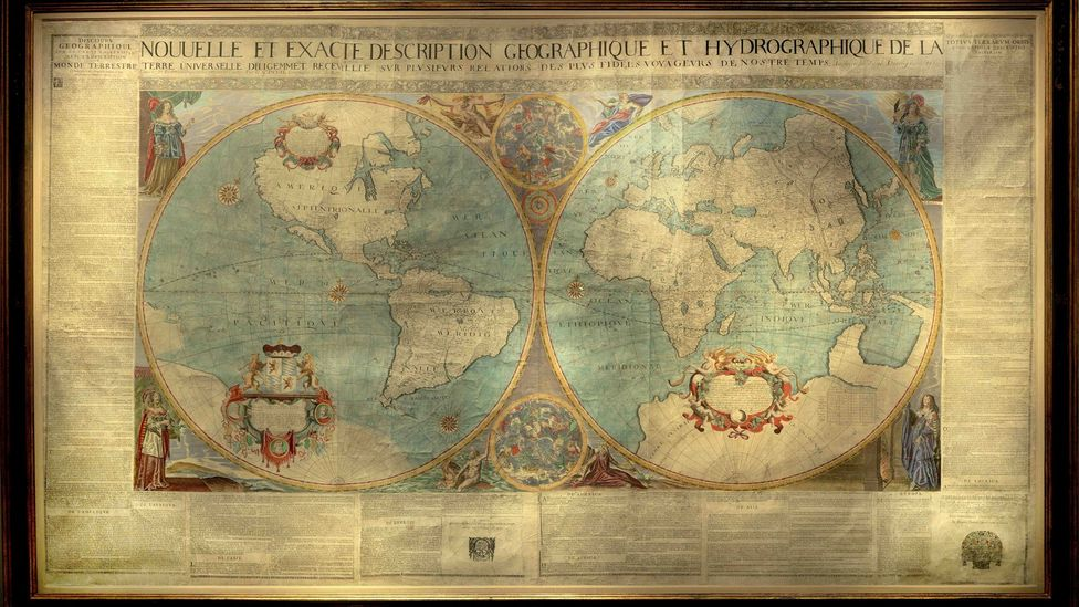 World maps charting global exploration are very collectible. Photo shows first French double hemisphere wall map, produced in 1672 by Jean Boisseau (Daniel Crouch Rare Books)