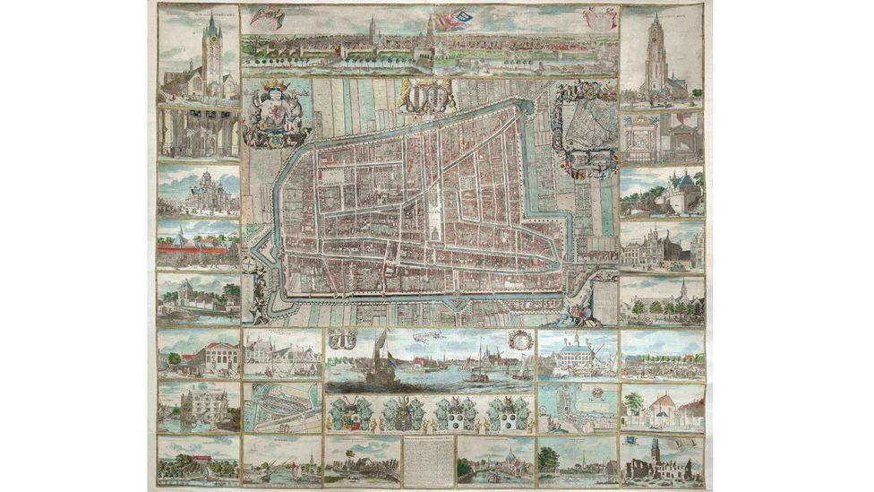 Collectors seek maps of places that are special to them. Photo shows1703 wall map of Delft, the Netherlands (Daniel Crouch Rare Books)