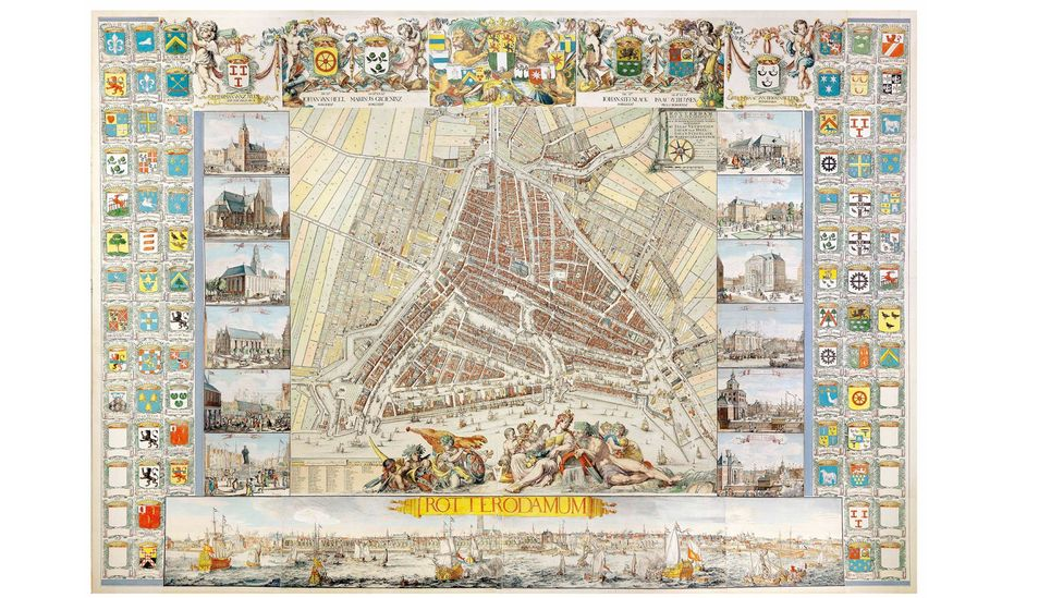 The Atlas de Vou, produced by Johannes and Romeijn de Hooghe in 1694, was the largest plan of Rotterdam in the Netherlands at that time (Daniel Crouch Rare Books)