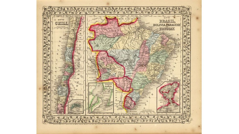 A hand-coloured map of Brazil, Bolivia, Paraguay, Uraguay and Chile by Samuel Augustus Mitchell from a 1870 atlas. (David Rumsey Map Collection)