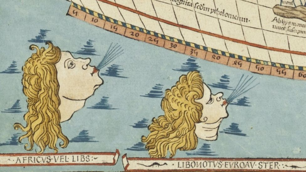 Close-up detail of the rare 1482 world map by Claudius Ptolemy (Christie's)