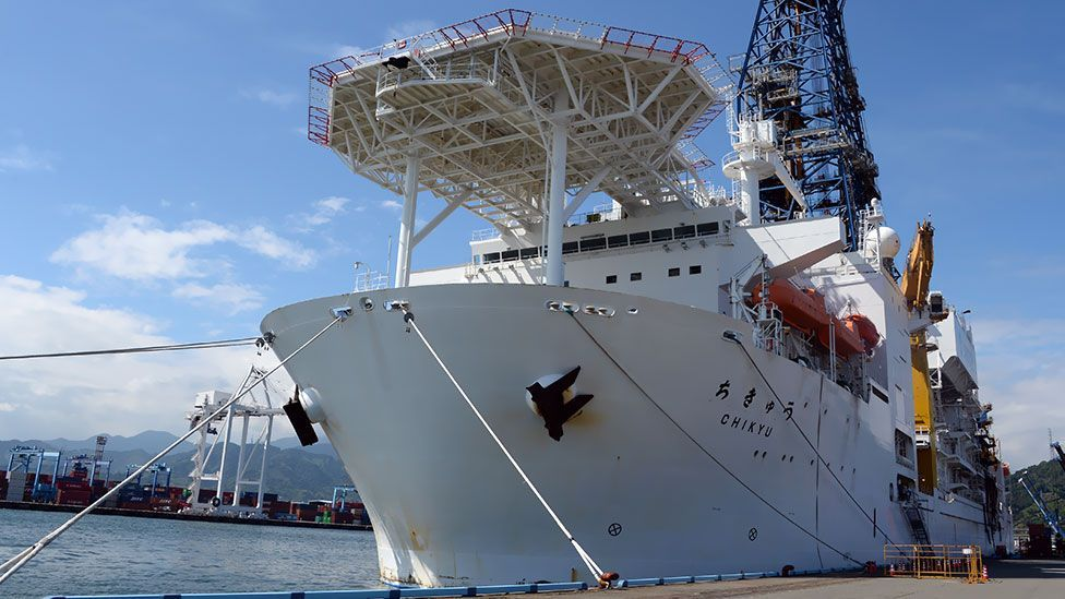 Japan's Chikyu ship may soon be used to probe the ultimate depths of life by drilling deep into the Earth's crust. (Toshifumi Kitamura /AFP/Getty Images)