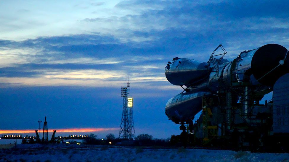 A Russian Soyuz-U booster heading to its launch site at Kazakhstan's Baikonur Cosmodrome. The Soyuz was carrying an unmanned Progress M-22M cargo spacecraft. (AFP/Getty Images)