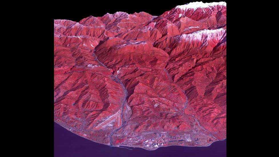 The Russian city of Sochi, host of the Winter Olympics, shot by Nasa's Advanced Spaceborne Thermal Emission and Reflection Radiometer (Aster). (Nasa/Reuters)
