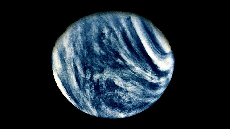 The first close-up photo of Venus, taken by Nasa's Mariner 10 mission in February 1974, and released by the space agency to mark the mission's 40th anniversary. (AFP/Getty Images)