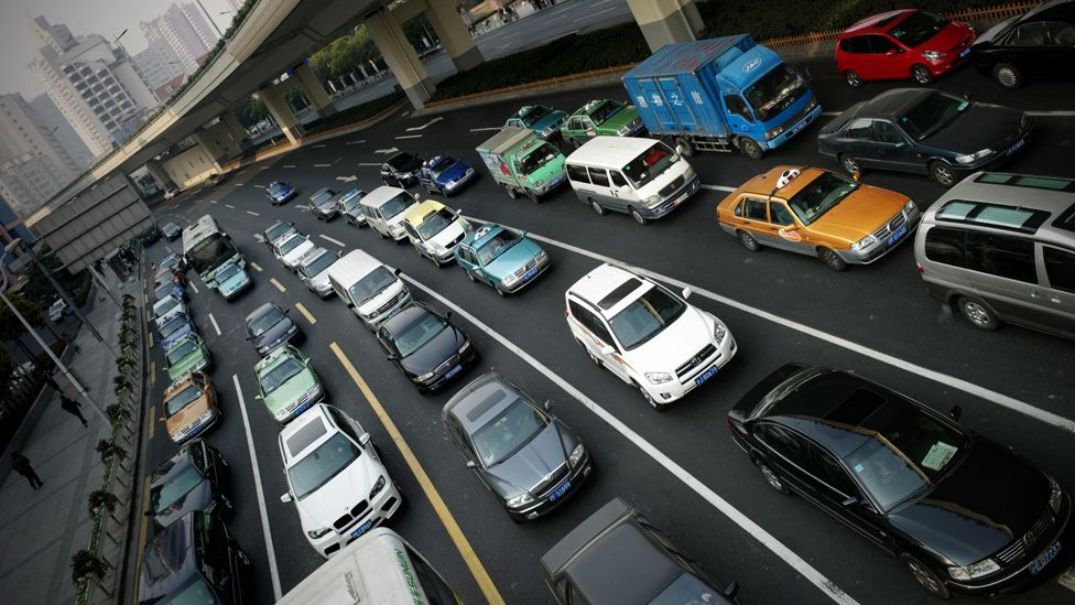 A huge rise in car ownership has contributed to Shanghai's choking air pollution (AFP/Getty Images)