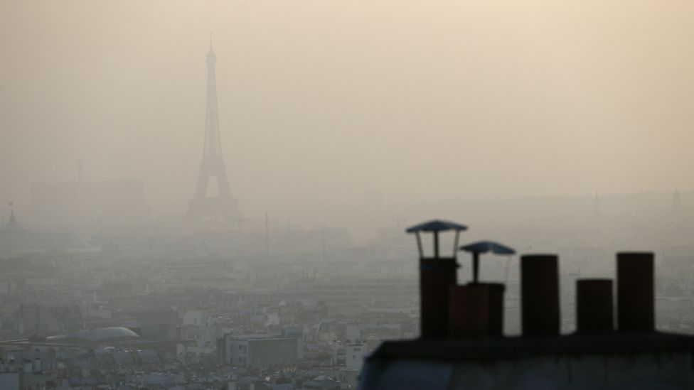 Paris, captured during the height of the smog last week (AFP/Getty Images)