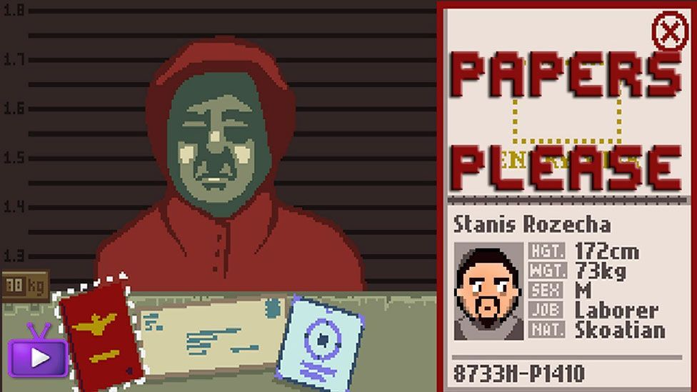 In the video game Papers Please, the joke is that the scenario - doing paperwork at a border crossing - is skull-crushingly boring (Lucas Pope)