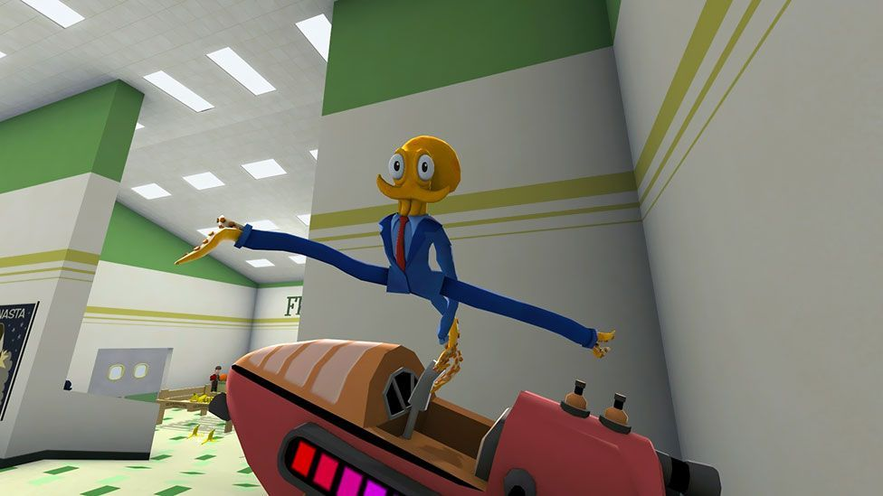 In Octodad: Dadliest Catch, you play a cephalopod in human clothes that blunders through a digital world - it's a form of slapstick (DePaul University Students)