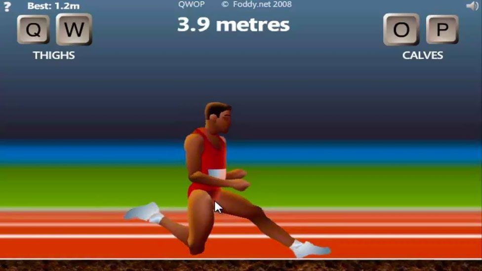 In QWOP, you must control all four limbs of an athlete, but many players find the task hilariously difficult (Bennett Foddy)