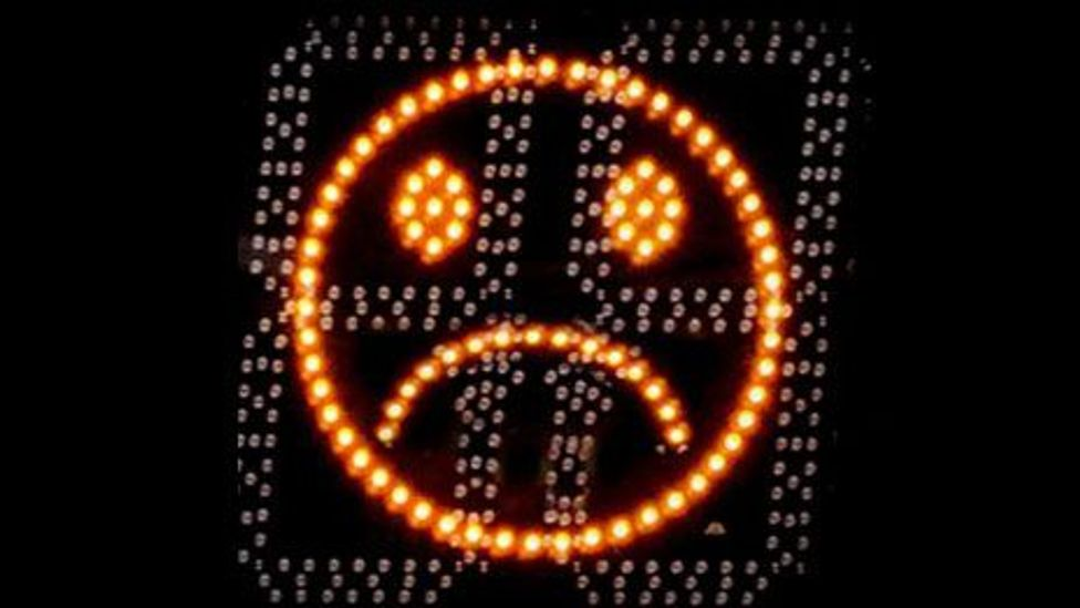 Some speed boards in the UK have faces that smile at cars travelling under the speed limit (SID)