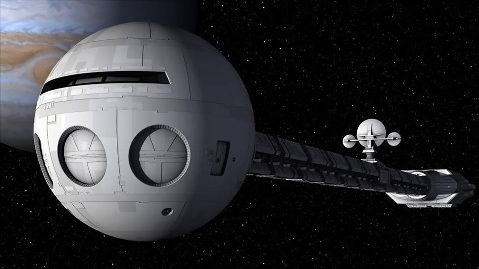 In the film 2001: A Space Odyssey, the Discovery's design kept the nuclear engines far away from living quarters (MGM)