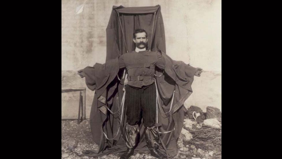 Franz Reichelt designed a parachute jacket but died demonstrating it during a leap from the Eiffel tower in 1912. (Wikimedia Commons)