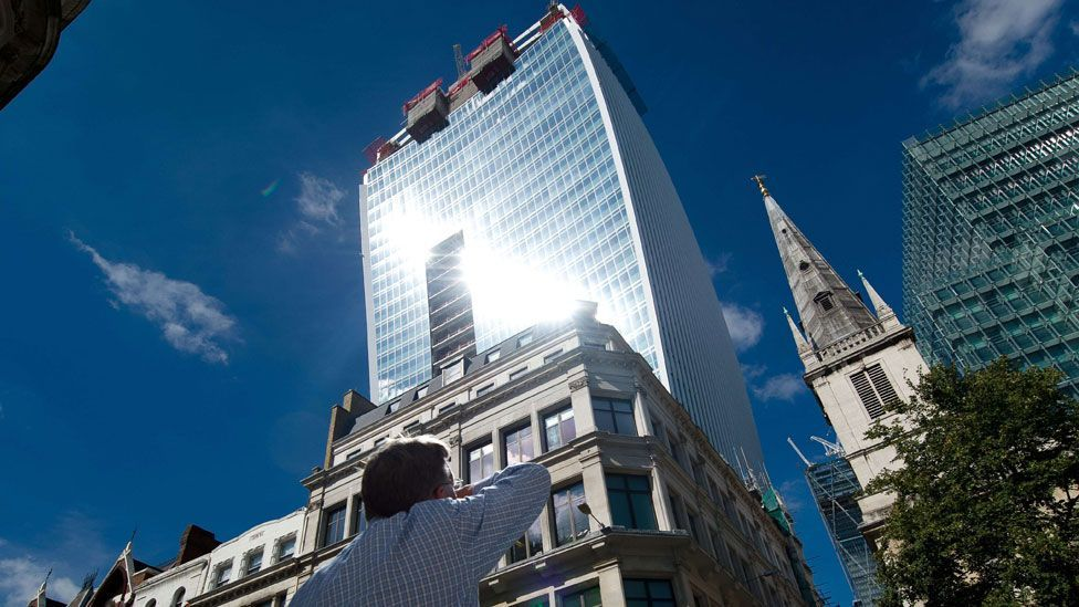 The concave shape of the Walkie Talkie building in London focused the sun's rays enough to melt rubber in the street below (AFP)