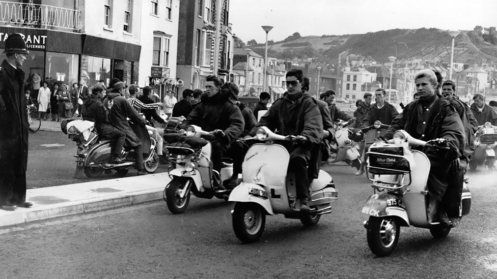 Mods flocked to seaside towns like Hastings on their scooters (Photo by Keystone/Getty Images)