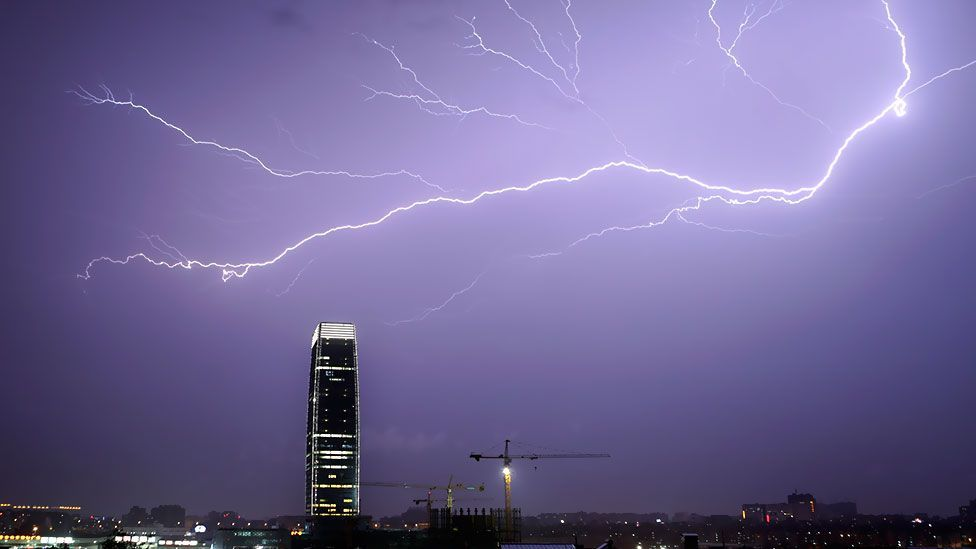 Lightning arcs across the sky during a storm in Guangzhou, Guangdong province in China. (Reuters)