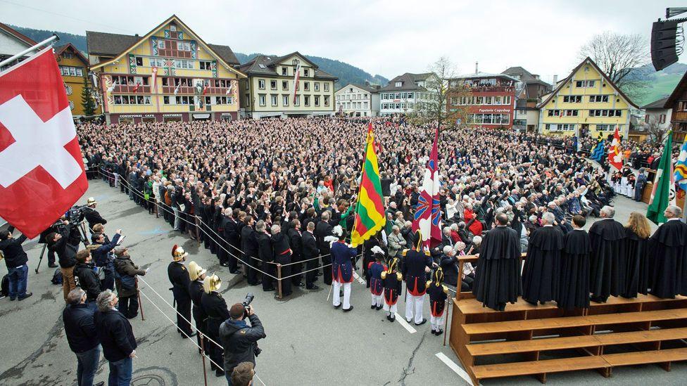 Appenzellers vote in the annual Landsgemeinde, a 700-year-old tradition. (Sebastien Bozon/AFP/Getty)