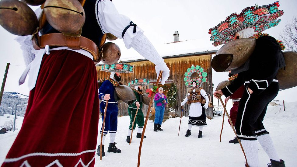 Locals gather for Silvesterchlausen, a New Year's festival that centres on yodelling. (Sebastian Derungs/AFP/Getty)