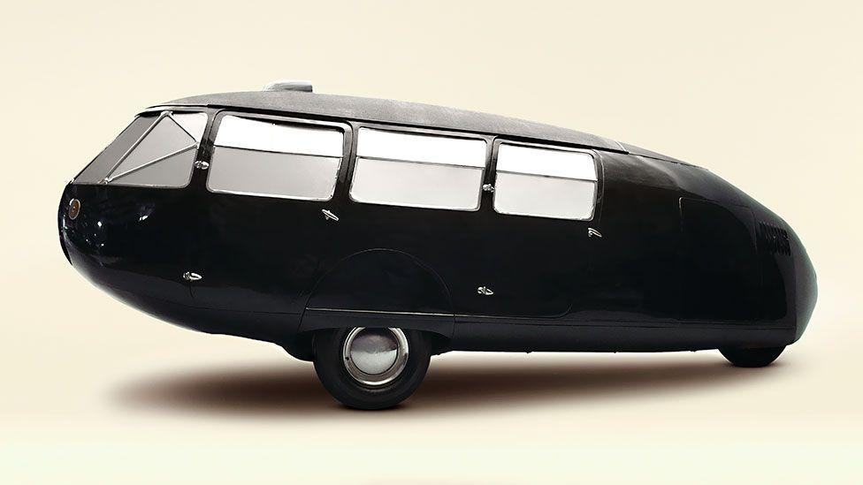The three-wheeled 1934 Dymaxion 4 Door Transport by Buckminster Fuller (Getty)