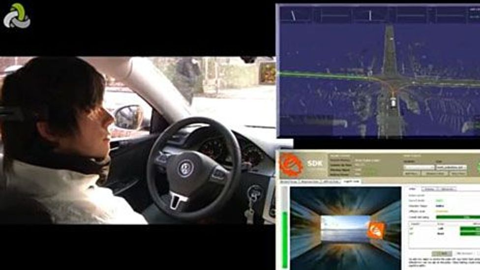 Henrik Matzke drives with thought by inducing an orange cube to move across a screen (bottom right); the car then calculates a trajectory (top right) (Brain Driver project)