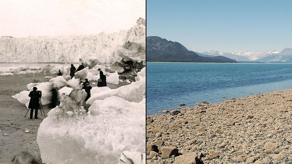 In just over 100 years, places like Alaska's Muir Glacier have witnessed significant rises in temperature (Nasa)