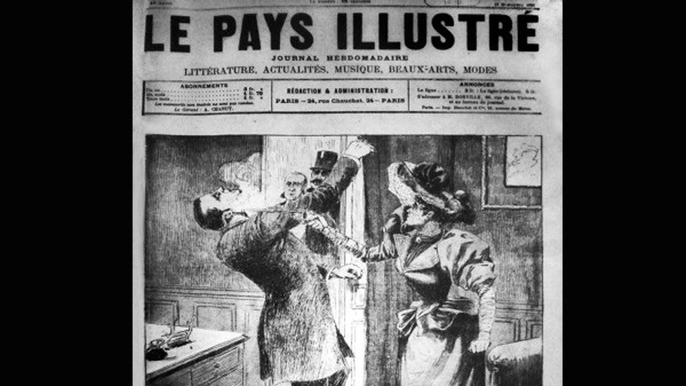 Georges Gilles de La Tourette was shot by a disgruntled woman he'd hypnotised, as this French newspaper depicted (Wikipedia/CC-PD-Mark)