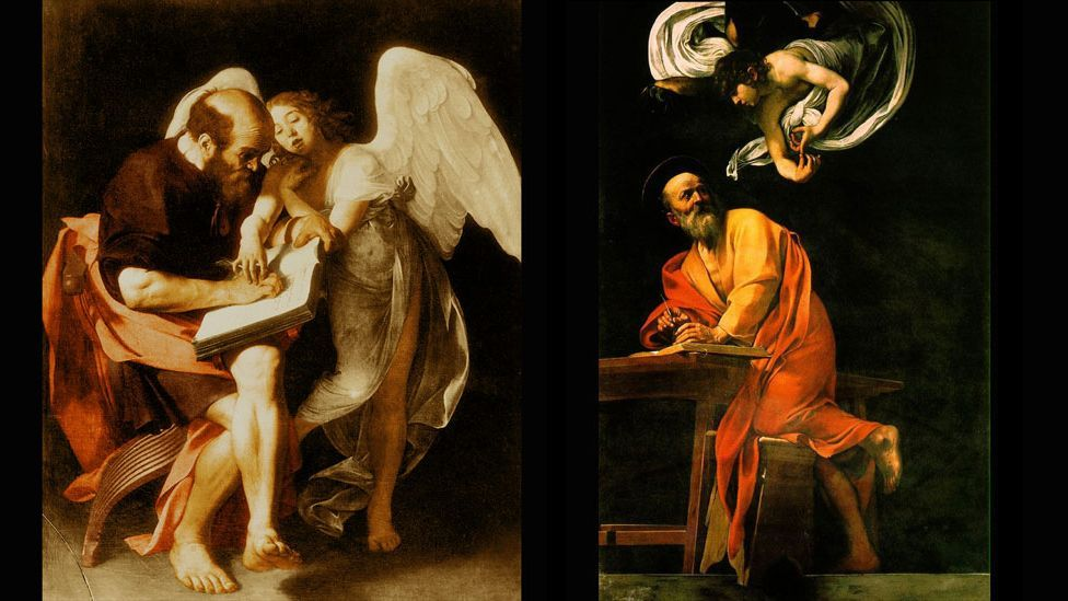 Two Caravaggio paintings that capture the delusion of mind-control: a guided hand (left) and whispered commands (right) (Wikipedia/Paul Hermans/CC-PD-Mark)