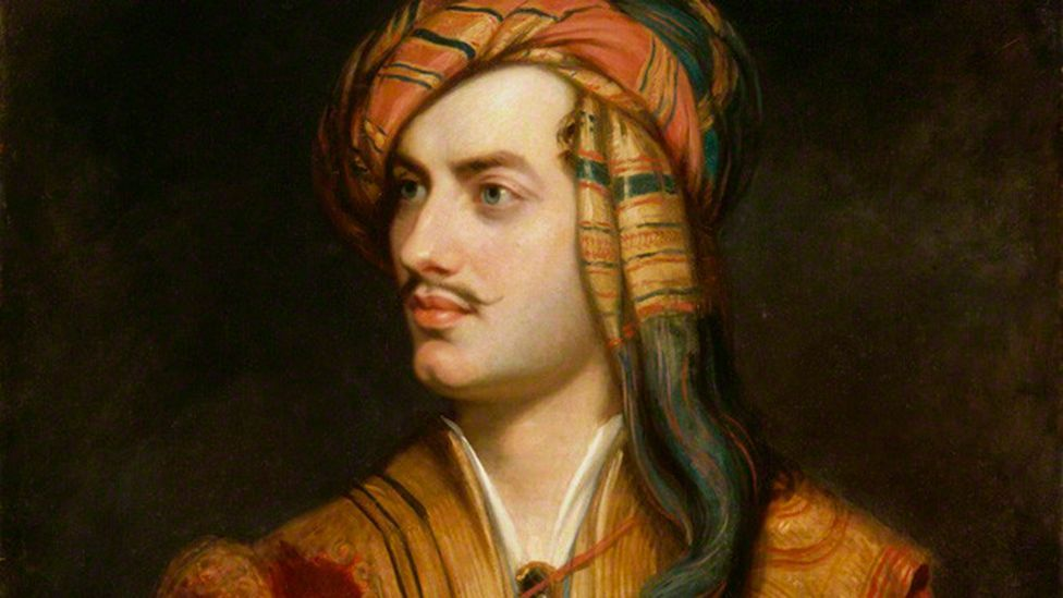 Byron modeled his pencil-thin moustache and exotic Albanian get-up in Thomas Phillips orientalist portrait of 1835 (National Portrait Gallery)