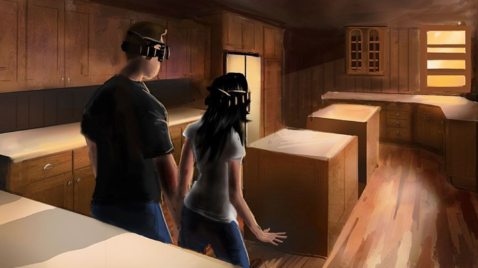 Artwork of a 'Holoroom' produced for Lowe's (SciFutures)