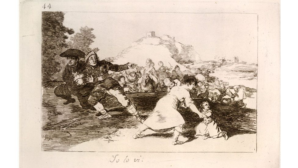 "Plate 44 of the series is inscribed ""I saw it"" and gives a first-hand account of the brutality of war (Goya: Plate 44/ The Folio Society)"