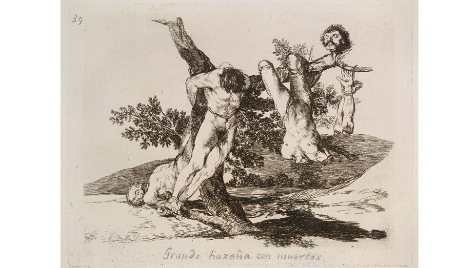 One of Goya's more famous prints shows three naked and dismembered corpses (Goya: Plate 39 / The Folio Society)