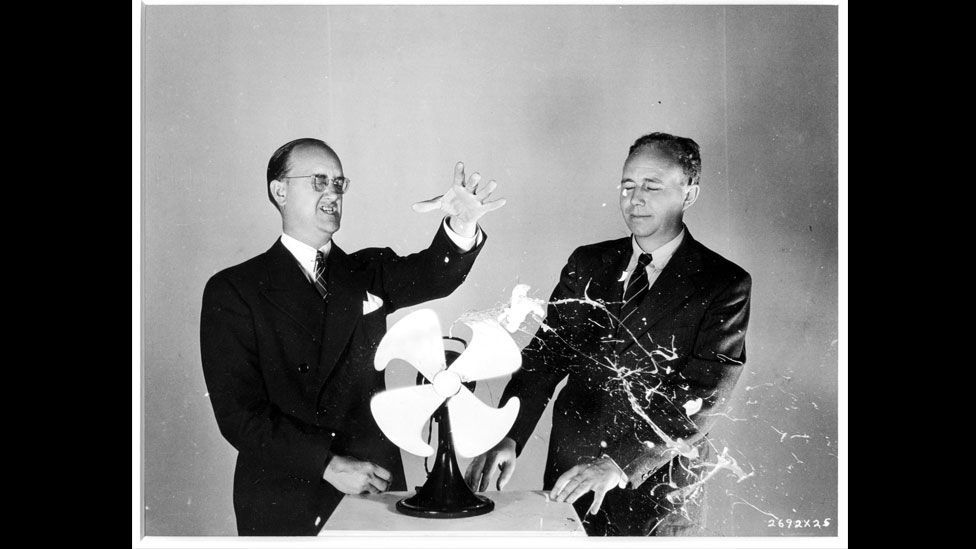 ... freezing the resultant explosion and the rapidly spinning fan blades at the same time. (Harold Edgerton Archive, MIT)